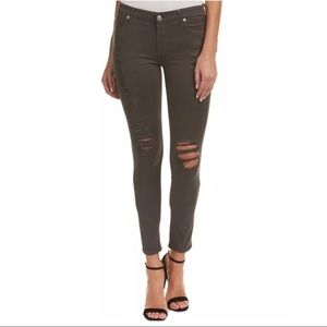 🆕 7 FAM Grey Coated Ankle Skinny Stretch Jeans